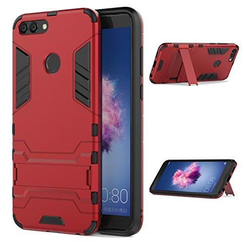LXHGrowH Funda Huawei P Smart, Fundas 2in1 Dual Layer Anti-Shock 360° Full Body Protección TPU Silicona Gel Bumper y Duro PC Armadura con Soporte y Desmontable Carcasa para Huawei P Smart, Rojo