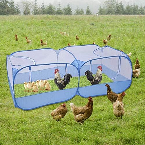 AOUSTHOP Portable Chicken Run Coop, Outdoor Foldable Pop-up Tent Pet Fence Enclosure, Suitable for Chicken Duck Puppy Cat Rabbit, Playpen Breathable Transparent Mesh Walls, 4 Zipper Doors