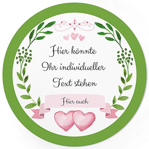 24 PERSONALISIERTE runde Etiketten mit Motiv: 2 Herzen Grüner Kranz mit Herz rosa - Ihre Aufkleber online selbst gestaltet, ganz individuell