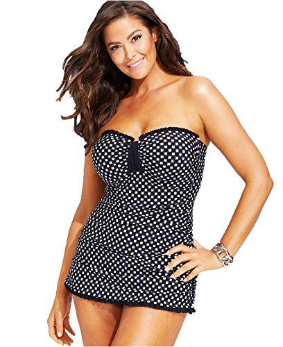 Profile by Gottex Plus Size Printed One-Piece Swimsuit Black/White (24W)