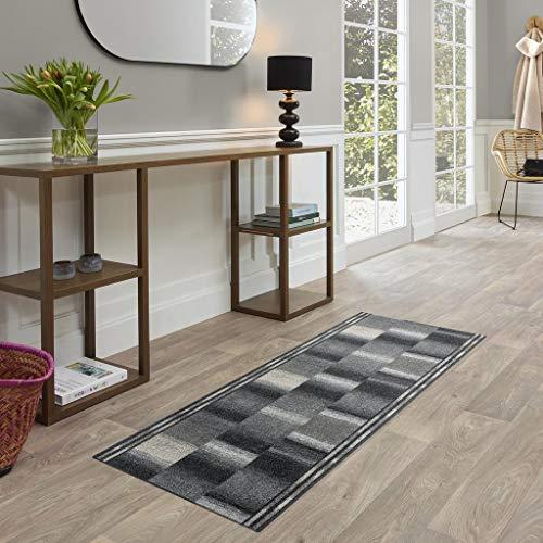 FABRIQ Ontario Flur Teppich, moderner Designer Kurzflor Teppich Läufer für Flur, Schlafzimmer, Wohnzimmer & Küche mit Farbverlauf, Pflegeleicht, rutschfest, 67x150cm, Grau