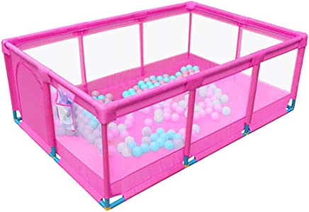 WJSW Pink Baby Playpens Kids Safety Play Fence Toddler Indoor Outdoor Safety Game Fence  190 128 66cm