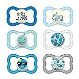 MAM Day & Night MAM Air - Ciuccio in silicone, 6-16 mesi, MAM, Air Night Uni Mix, set da 6, incl. 3 contenitori sterili per il trasporto.