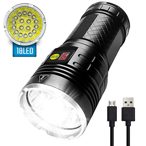 12000 Lumens LED Flashlight - iVict 18xLEDs Flashlights Extremely Bright CREE XM-L T6 LED, Type-C Fast Rechargeable, Build-in Batteries, 4 Modes & Power Display Function, IPX-5 Waterproof Flashlight