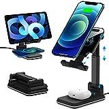 【デュアル10W急速充電】ワイヤレス充電器 2in1 卓上 スマホ スタンド iPhone/携帯 スタンド 角度高度調整可能 タブレット/ipad スタンド- 折り畳み式 Qi 充電スタンド ワイヤレスチャージャー 2台同時充電 置くだけ充電 iPhone 12/12 Pro/12 Pro Max/12 Mini/iPhone SE (第2世代) /11/11 Pro/11 Pro Max/XS/XS Max/XR/X/ 8 / 8 Plus、AirPods 2/Pro、Galaxy S20/S10/S10+/S9 等その他Qi機種対応