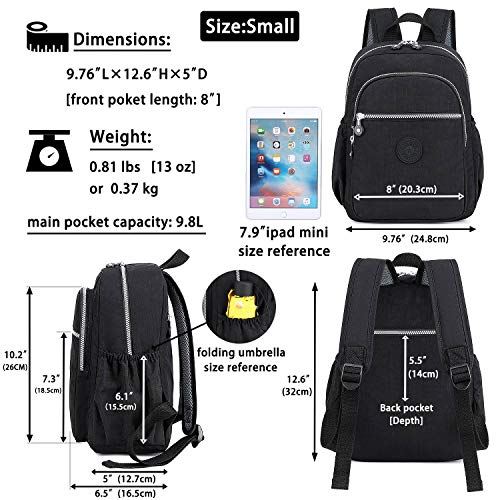KAIERWOKE Nylon Mini Casual Lightweight Daypack Backpacks for Women and Girls,Black,Small