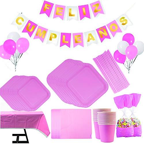 Vajilla Papel Cumpleaños Rosa Liso para 16 Invitados, Incluye Platos, Vasos, Mantel, Servilletas y Globos,Ideal para Niñas…