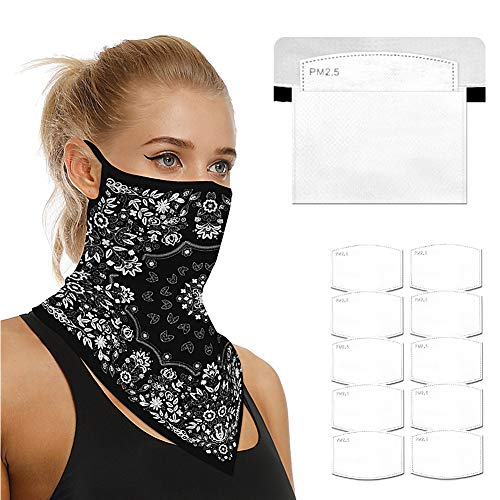Face Scarf Bandanas Ear Loops for Men Women Balaclava Neck Gaiters Outdoor Dustproof Cover with Safety Carbon Filters 004