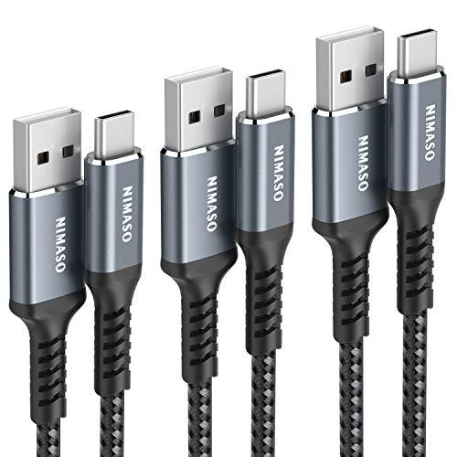 【3本セット 0.3m+1m+2m】NIMASO USB Type C ケーブル 【 QC3.0 3A急速充電】 タイプc 充電ケーブル iPad Pro(2018/2020)、Sony、Galaxy、Huawei その他Android各種、type c機器対応 (グレー)