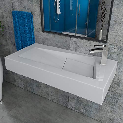 Design Mineralgusswaschtisch Waschbecken Aufsatzwaschtisch Aufsatzwaschbecken aus Mineralguss wandhängend eckig 100x46x14cm CLS17-1000