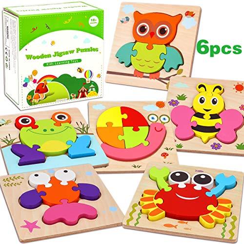 Aiduy Holzpuzzle ab 1 2 3 Jahren Kleinkinder, 6 Stück Steckpuzzle Holz ab 1 2 Jahren Baby Holzpuzzle für Kinder