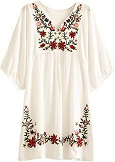Floral Embroidered Peasant Dressy Tunic Tops Blouses