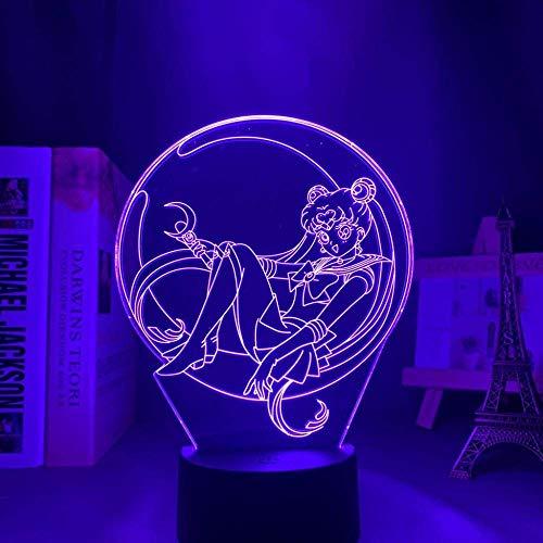 3D noche lightAcrílico llevó la luz de la noche lámpara anime marinero luna para dormitorio decorativo habitación noche regalo cumpleaños 3D mesa luz manga