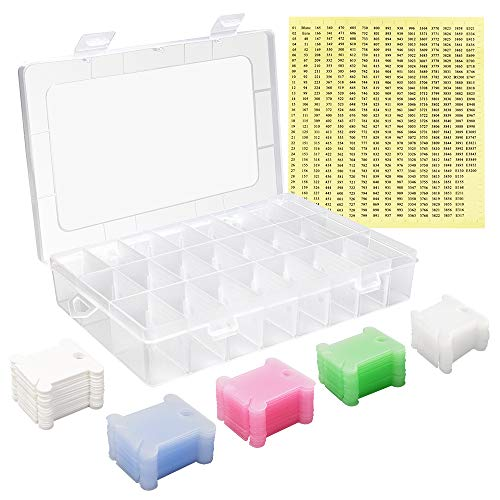 NEW NOAM 150 Sätze Bunte Plastikstickgarn-Sets, Aufbewahrungsbox für Stickgarne, Spulen Nähmaschine, 24 Stickgarnboxen, 552 Stickgarne zur Aufbewahrung von Sticknadeln