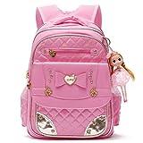 Série de cartable Sac à dos d'école de princesse mignonne pour des filles d'enfants (Rosé -Grand)