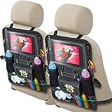 Cartik バックシートカーオーガナイザー 2パック キッズ、赤ちゃん、幼児用 タブレットホルダー付き iPad Touch Screen、ベビーカー、大型収納、キックマット、バックシートプロテクター、オーガナイザーeBook