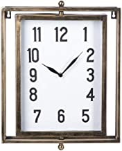 Ganz CB173863 Brushed Gold Rectangle Wall Clock, 16-inch Height, Metal