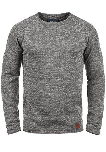 Blend Dan Herren Strickpullover Feinstrick Pullover Mit Rundhals Und Melierung, Größe:L, Farbe:Pewter Mix (70817)