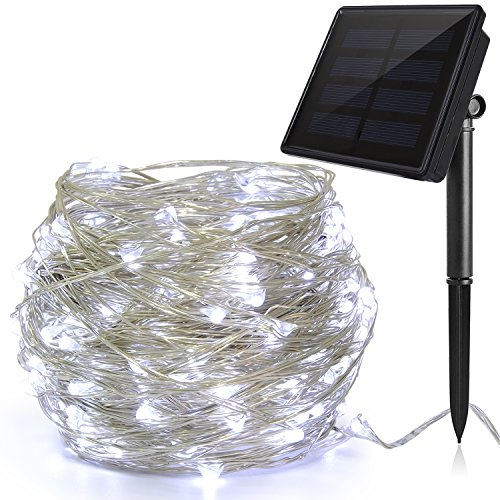 Luces LED Navidad Solar (200 LED, Hilo de Cobre de 3 Hilos, 22M/72pies), Ankway 8 Modos Guirnalda Luces Solares, Cadena Luces Solares Impermeable para Jardin Exterior Boda Decoracion-blanco frio
