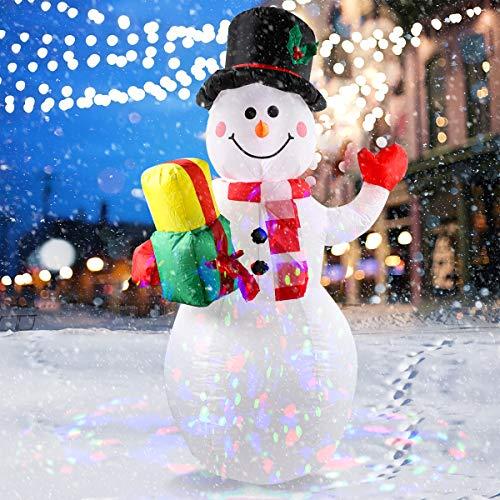 Aniso - Muñeco de nieve inflable de Navidad para decoración al aire última intervensión, Navidad inflable con luces LED internas para decoración interior y exterior, patio, decoración de césped