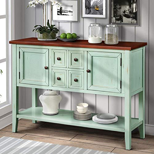 Harper & Bright Designs Buffet Cabinet Kitchen Storage Buffet and Sideboard Table Console Tables with Four Storage Drawers Two Cabinets and Bottom (Antique Blue)
