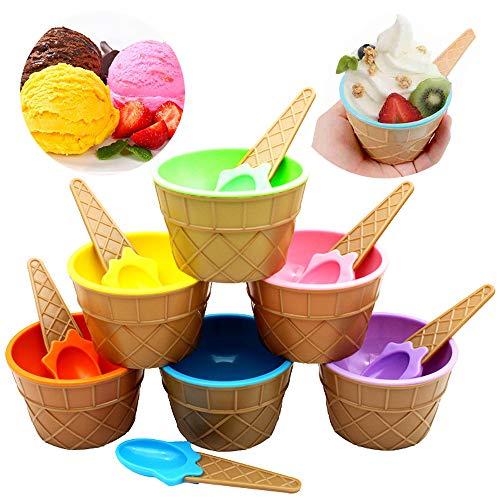 Ziyero Niedlich Bunte EIS-Schalen Eisbecher Geschenke Dessert Schalen Set Praktische Eisbecher Dish Cup für Essen, Obst, EIS, Familie, Camping, Weihnachten Party usw—6 Stück(Eine für Jede Farbe)