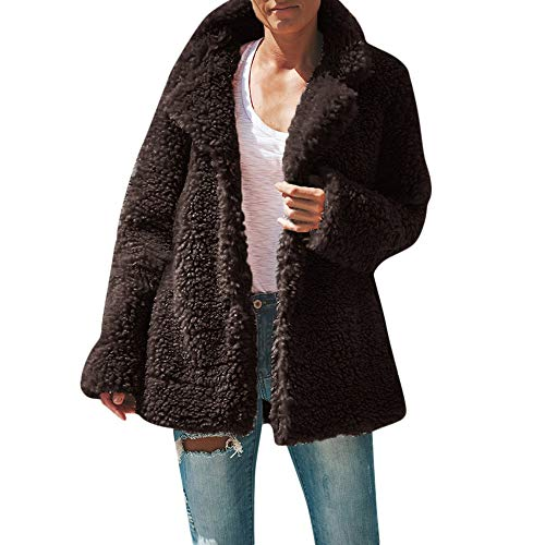 Damen Mantel Plüschjacke, Frauen Teddy-Fleece Wintermantel Langmantel Warm Cardigan Revers Winterjacke Kapuzenjacke Outwear Strickjacke mit Taschen Trench Coat