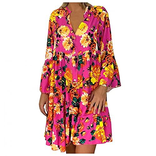 Briskorry Damen Casual Langarmkleid Kleider Knielang Blumenkleid Elegant Böhmisch Herbst Sommerkleider V-Ausschnitt Strandkleid Kurz Kleider MaxiKleid mit Knöpfleiste