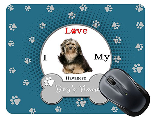 BleuReign(TM) Personalized Custom Name I Love My Dog Havanese Mouse Pad
