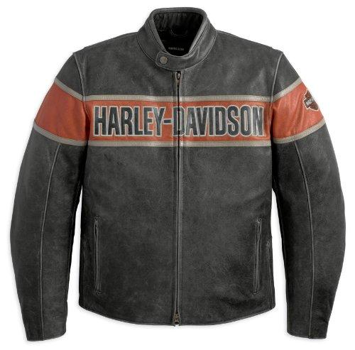 Harley Davidson Victory Lane Leather Jacket 98057-13VM Herren Outerwear, schwarz, M