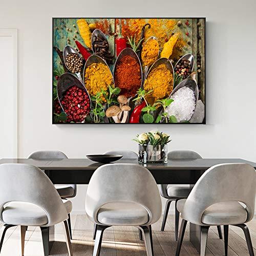 SADHAF schilderij op verschillende kruiden canvas op tafel druk keuken thema wandposter kamerdecoratie 40x50cm (senza cornice) A2.