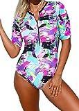 Ocean Plus Mujer Cremallera Delantera Traje de Baño de Una Pieza Cuello Redondo Manga Corta Cintura Alta Surf de Playa Ropa de Playa (L (EU 38-40), Flamenco Rosa)