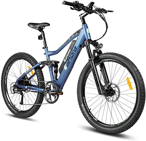 eAhora AM100 Plus 27.5 Inch 48V Mountain Electric Bicycle Dual Hydraulic Brakes Electric Bikes for Adults, Air Full Suspension 350W EBikes with Removable Lithium Battery, Recharge System, 9-Speed Gear
