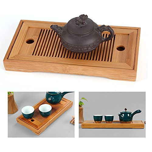 Tee-Tablett,Geschmackvolle Bambus japanischen/chinesischen Gongfu Tee Tisch,Teetisch aus Bambus für Chinesische Teezeremonie ,Langlebig und verfeinert,27 * 14 * 3cm