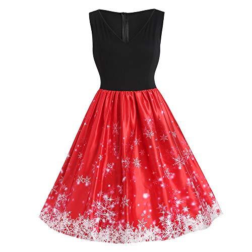 Fenverk Weihnachtskleid äRmellos Weihnacht Kleider Vintage Kleid Abendkleid Cocktailkleid Mit Santa Drucken Spitzenkleider Festlich Partykleid Damen Weihnachtsmotiv Faltenrock(B-Rot,4XL)
