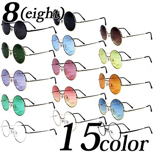 (エイト)8(eight)15color丸メタルフレームサングラスオーバル専用ケース付きゴールド×パープル