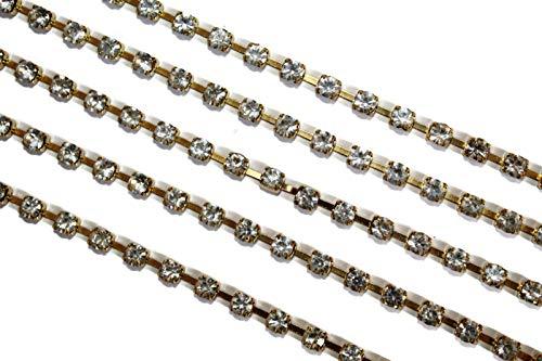 Strass Trim Strass Ketting Gouden Trim Basis bruidsjurk Crystal Ribbon 3mm Prijs voor 1 Yard-RN20