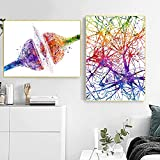 LZASMMVP Neurociencia Neurología Biología médica Regalo Receptor de sinapsis Cerebro Célula nerviosa Ciencia Impresiones de Arte Póster de anatomía Pintura en Lienzo   40x60cmx2Pcs Sin Marco