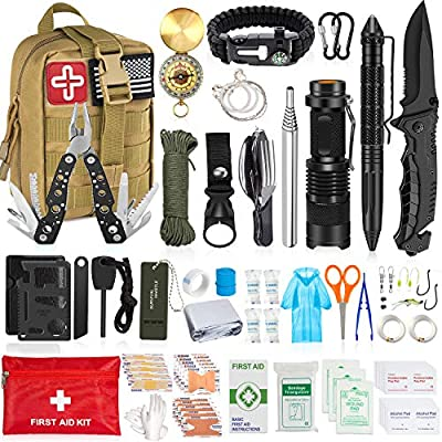 AOKIWO 126PCS Emergency Survival Kit, Professional Survival Gear Tool First Aid Kit SOS Emergency Tactical Flashlight Knife Pliers Pen Blanket Bracelets Compass with Molle Pouch for Camping Adventures