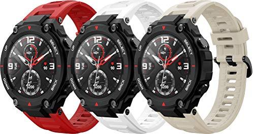 Simpleas Correa de Reloj Recambios Correa Relojes Caucho Compatible con Amazfit T-Rex - Silicona Correa Reloj con Hebilla (3PCS D)