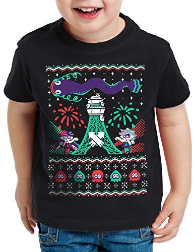 A.N.T. Splash Christmas Pull de Noël T-Shirt pour Enfants Switch Ugly Sweater, Couleur:Noir, Taille:152