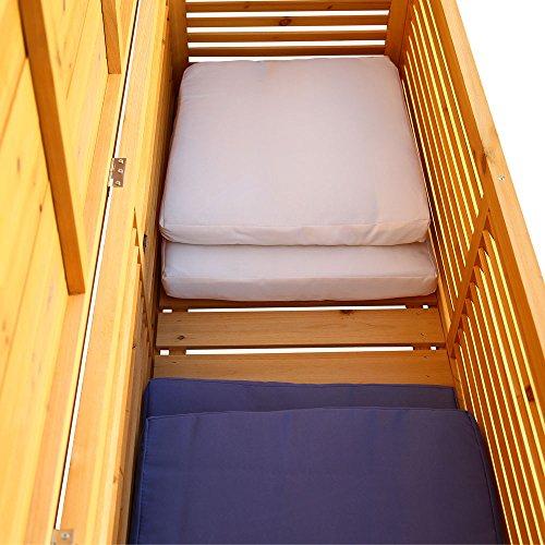 Melko Auflagenbox Kissenbox Gartenbox mit klappbarem Deckel, regenfest, aus Holz, 46 x 140 x 52 cm, Gartentruhe Holztruhe - 4