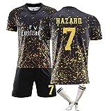 CWWAP New Hazard 7 MODRIC10 Benzema 9 T-Shirt Shorts Kits, Madrid Football Uniform Black Gold Commemorative Edition with Football Socks-No.7-S