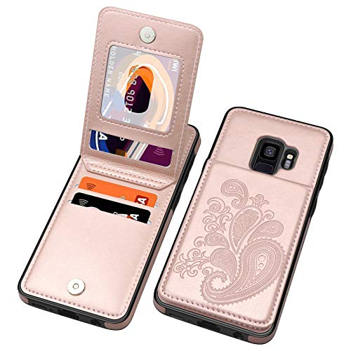 SiZiYNan Flip Case for Samsung S9 Case, Embossed Flower Series Premium PU Leather Galaxy S9 case for Women with Wallet Credit Card Holders Slim S9 Phone Case for Samsung Galaxy S9,Rose Gold