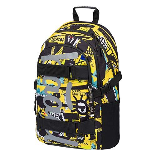 Schulrucksack für Jungen Mädchen Teenager - Skateboard Rucksack - Kinderrucksack mit Laptopfach und Brustgurt für Schule (Skate Street Art)