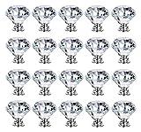 WAYYQX Perillas Armario Cocina 20 Unids/Set 30mm Diamante Forma Diseño Crystal Glass Perillas del Armario del Cajón del Cajón del Armario del Gabinete De La Puerta del Armario Puerta Hidratación