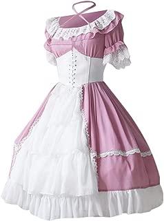 Funnygals - Women Medieval Costume Square Collar Bundle Waist Renaissance Vintage Retro Dress Princess Costume