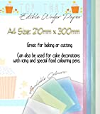 30 x Coloured Selection of Sheets Bake Easy Edible Rice Wafer Paper A4 Sized Sheets in 5 colours- 6 Pink, 6 Blue, 6 Green, 6 Yellow and 6 White by Easy Bake