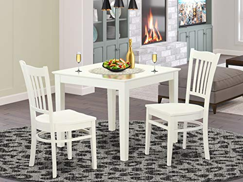 3 Pcbreakfast nook Table and 2 Wood Dining room chair in Linen White