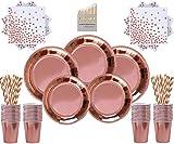 Rose Gold Party Supplies Articoli per Feste in Oro Rosa 146 Pezzi Set di stoviglie - Piatt...